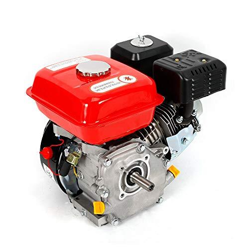 OUKANING Motor de Gasolina de 7.5 HP Motor de Kart Motor de 4 Tiempos Cilindro Simple Inclinado de 25 ° para Bombas y Embarcaciones 3600 RPM 5.1 KW (Light Red+Black)