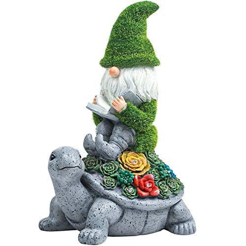 Flocked Garden Statue Gnome Cute - Large Outdoor Gnome Statue Sculptures with Solar Lights, Resin Gnome Figurine Sitting on Turtle Reading Book for...