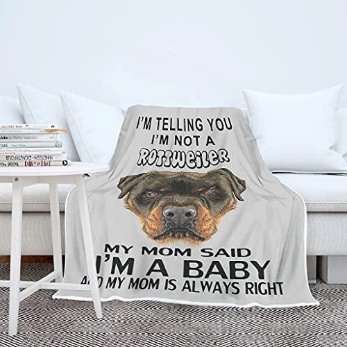 Manta de peluche para bebé Rottweiler, diseño de perro y madre, para invierno, para el salón, para adultos y niños, color blanco, 150 x 200 cm