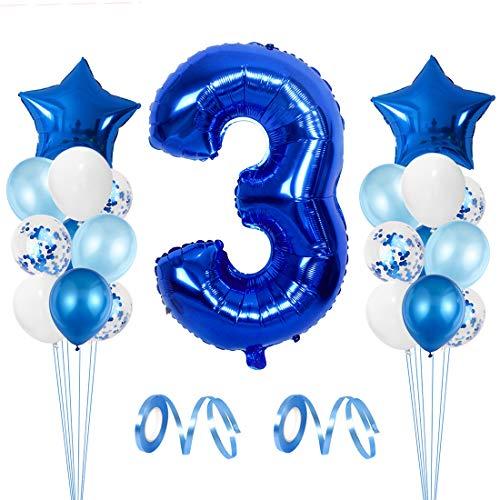 Luftballon 3 Geburtstag Junge, Deko 3 Geburtstag Blau, Geburtstagsdeko Junge, 3.Geburtstag Blau, Riesen Folienballon 3, Set Kindergeburtstag 3, Folienluftballon Zahl 3, Heliumballon 3 Junge