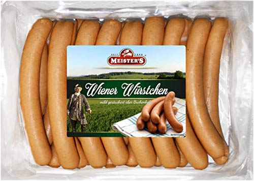 Wiener Würstchen frisch | traditionell Buchenholz geräuchert | Wurst geräuchert im Naturdarm Saitling | Würstel in Metzger Qualität | 20 x 50 g