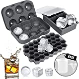 Ice Cube Tray, AiBast Ice Trays for Freezer With Lid, 3 Pack Silicone Large Round Ice Cube Tray, Sphere Square Honeycomb Ice Trays for Whiskey With Covers&Funnel, Reusable Whiskey Ice Ball Mold Grey