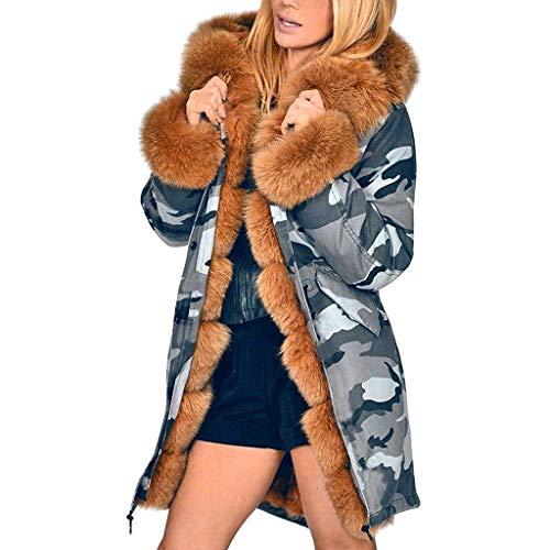 Fenverk Damen Winter Mantel Steppmantel Moonshine Warme Jacke Lang Teddyfell Winterjacke Baumwolle Parka Abnehmbare Fellkapuze S-4XL(B Braun,XXL)