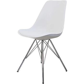ダイニングチェア イームズチェア 肉厚クッション付き イームズ EAMES Eames DSR シェルチェア 食卓椅子 北欧 スチール脚 組立簡単 椅子 ホワイト 9003WH