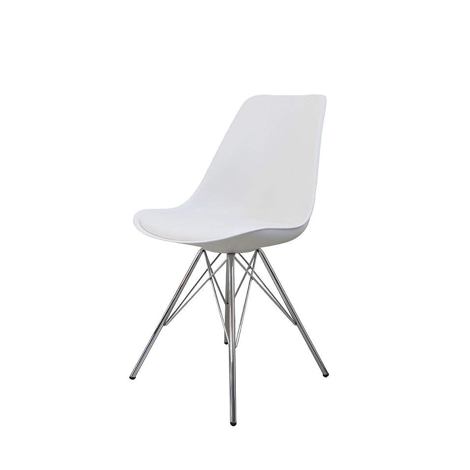 目に見えるマイルドトリムダイニングチェア イームズチェア 肉厚クッション付き イームズ EAMES Eames DSR シェルチェア 食卓椅子 北欧 スチール脚 組立簡単 椅子 ホワイト 9003WH