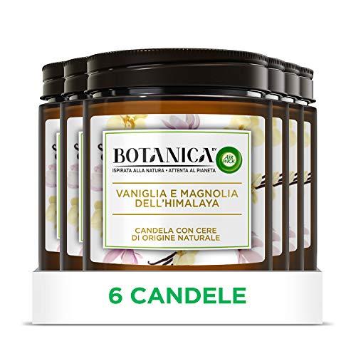 Airwick Botanica, Candele Profumate con Cera di Origine Naturale, Confezione da 6 Candele, fragranza Vaniglia e Magnolia dell'Himalaya, fragranza naturale - Candele da 205 gr