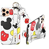 DISNEY COLLECTION Case for iPhone 11 Pro,Mickey Fashion Wrist Strap Band Protector Phone Cover Full-Body Bumper Lanyard - 5.8 Inch.
