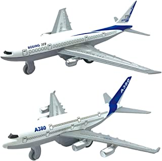 NiceBUY 2 Pack Alloy Airplane Model Toy A380 Metal Plane for Kids Birthday Home Decoration Collection (2 Pcs)