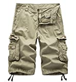 WSLCN Homme Shorts en Coton Rétro Baggy Cargo Camo Shorts Bermuda Outdoor Casual Combat Shorts Pantacourt Kaki FR 34W (Asie 36W)