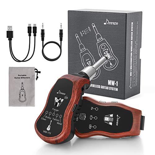 Donner MW-1 Sistema de guitarra inalámbrica UHF recargable con 5 efectos de modulación, receptor de transmisor de guitarra digital multifunción