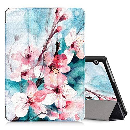 ZhuoFan Funda Huawei Mediapad T3 10, Cárcasa Cuero PU Silicona Magnetica Función de Soporte y Auto-Desbloquear Cover Piel Protector Compatible con Huawei Mediapad T3 10 9,6 Pulgadas Tablet, Flor