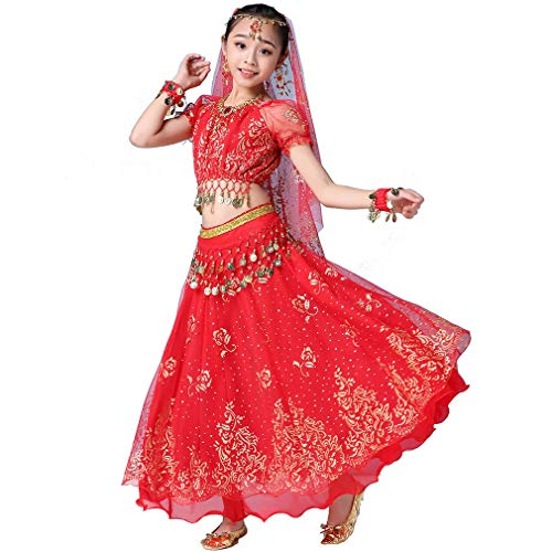 Magogo Mädchen Bauchtanz Kleid Bollywood Indian Folk Kids Arabian Performance Kostüm Karneval Outfit (130-155cm/51-61in, Rot)