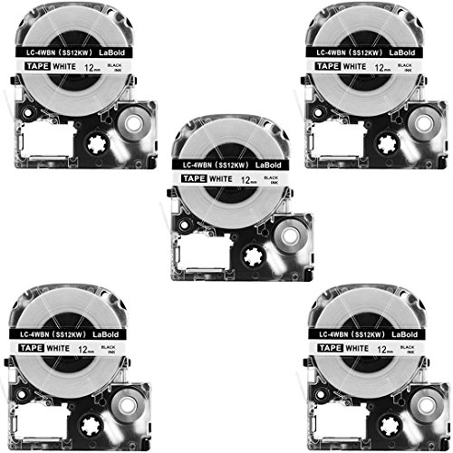 5 Pack Replace LK-4WBN LC-4WBN9(SS12KW? Label Tapes for Epson LabelWorks LW300 LW400 LW500 LW700 Black on White 1/2 Inch X 26.2 Feet(12mm x 8M),Read Comments If You Worry About Low-Scale Reviews!