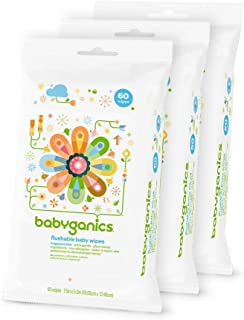 Babyganics Flushable Wipes, 60 ct, 3 pack, Packaging May Vary