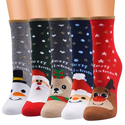Jogoo 5 Paar Damen Fuzzy Fluffy Weihnachtssocken Christmas Winter Warme Bettsocken Gemütliche Weiche Crew Socken Slipper Niedliche Tiersocken