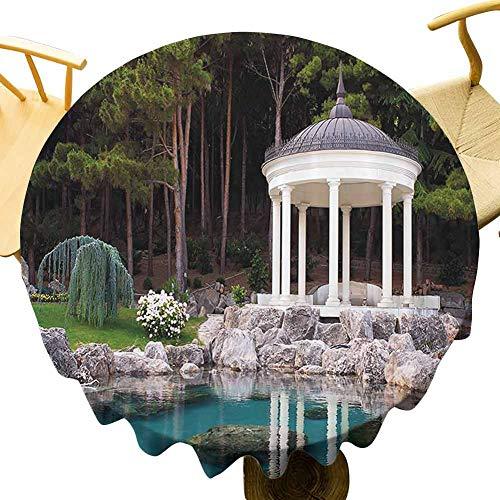 Cenador de mesa redonda para exteriores de paisaje, por The Pond in a Beautiful Green Park Nature Forest Garden View Celebration Festival Verde Azul y Blanco Diámetro de 39 pulgadas