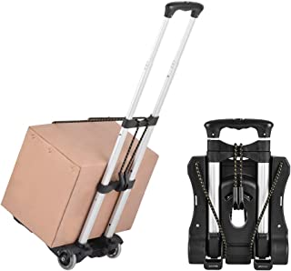 Luggage Cart Folding Hand Trucks, 80 Lbs Loading Portable Utility Cart for Luggage Height Adjustable Fold Up Dolly Lightwe...