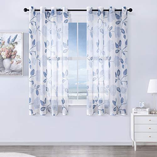 MRTREES Voile Gardinen Vorhang halbtransparent kurz Gardine Blumen Vorhänge Muster mit Ösen in Leinenoptik Blau 145×140 (H×B) Schlaufenschal 2er Set für Wohnzimmer Schlafzimmer Kinderzimmer