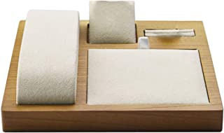Baoblaze Solid Wooden Jewelry Display Set - Jewelry Tray Organizer for Necklace/Bracelets/Rings/Earrings/Chains/Pendants/Watches Stand Showecase - Beige, 15x15x2cm