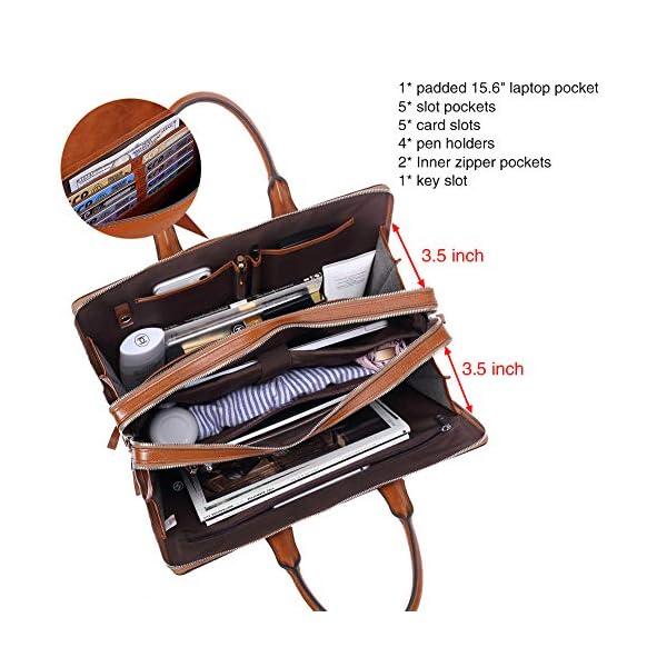 "CLUCI Women Oil Wax Leather Briefcases Slim Large Business 15.6"" Laptop Vintage Shoulder Bag for Men 4"
