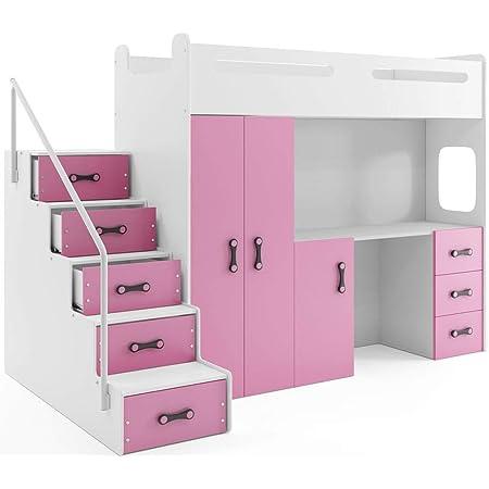 Interbeds Lit Mezzanine Max 4 en 80x200 avec Bureau, Armoire, Matelas, sommier et escalier (Blanc+Rose)