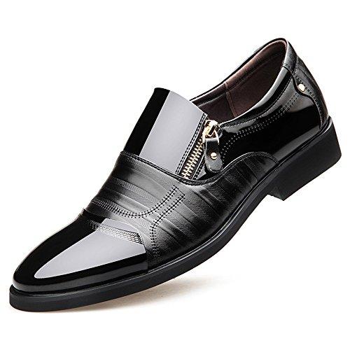 Blivener Men's Oxford Zipper Dress Shoes Slip on Business Shoes Black US 8