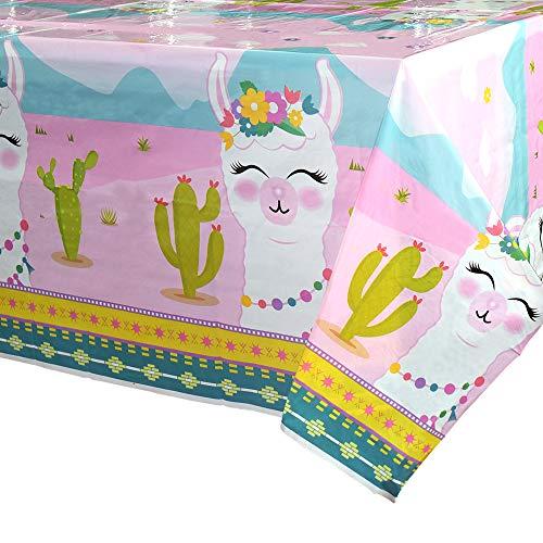 WERNNSAI Mantel Rosa de Fiesta Llama - 110 x 180cm Cactus Mantel Desechable de Plastico, Suministros de Fiesta para Niña Picnic Decoraciones de Cumpleaños