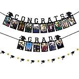 2021 Graduation Photo Banner, Black Glitter Congrats Grad Photo Banner + Graduation Cap Banner for 2021 Graduation Party Decorations Supplies, Congrats Grad Party Decor
