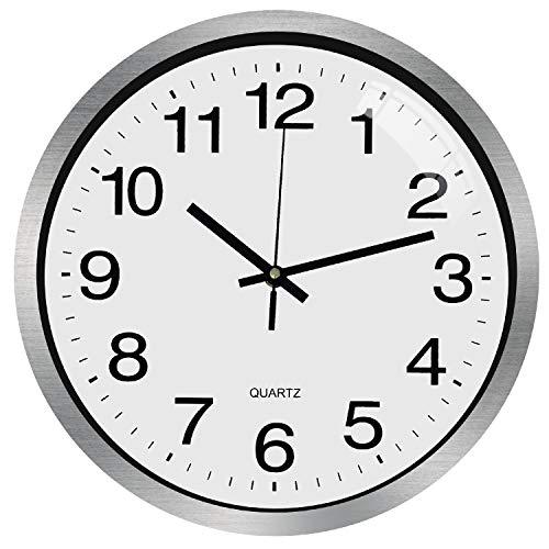 Outpicker Orologio da Parete Silenzioso Moderno da 12 Pollici di Non ticchettio Eccellente Movimento accurato della Spazzatura Orologio con Coperchio in Vetro con Cornice in Alluminio (Bianco argento)