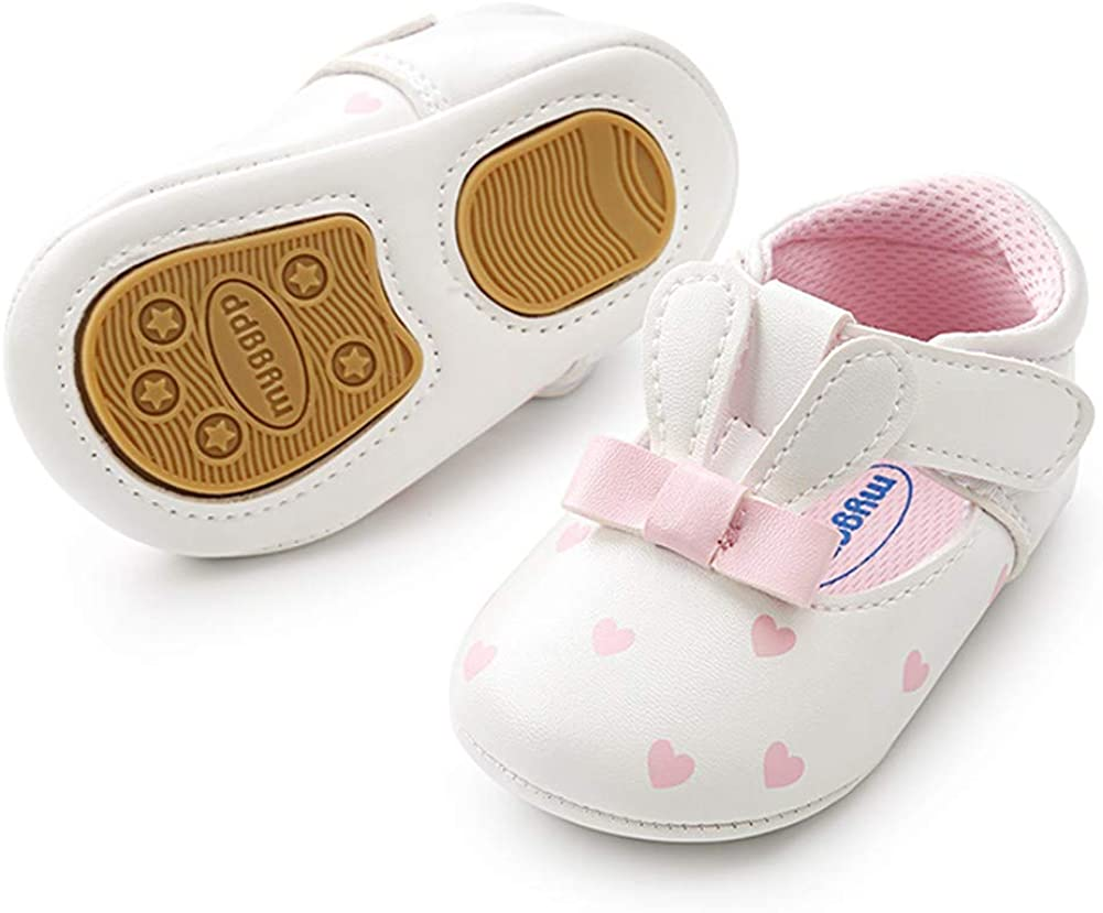 Baby Girls Cute Bunny Shoes PU Leather Mary Jane Shoes Flat Shoes Anti-Slip Soft Sole Toddler First Walkers Shoes