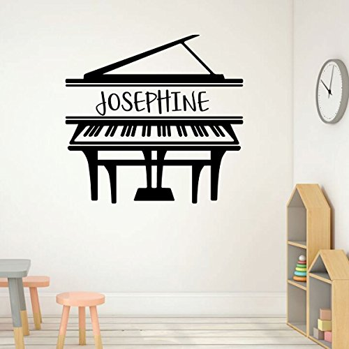 Grand Piano Wall Art - Personalized Name Musician Vinyl Decal for Music Room, Studio, Practice Area, School Classroom, Academy, or Conservatory