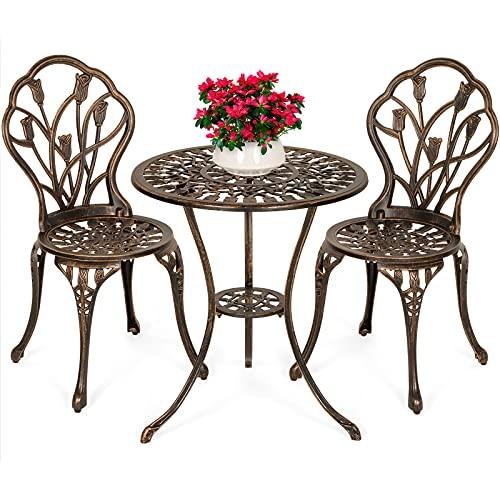 yangdan Q 3 piezas de aluminio fundido patio conjunto muebles taberna patio conjunto con acabado de cobre antiguo (Color: A)