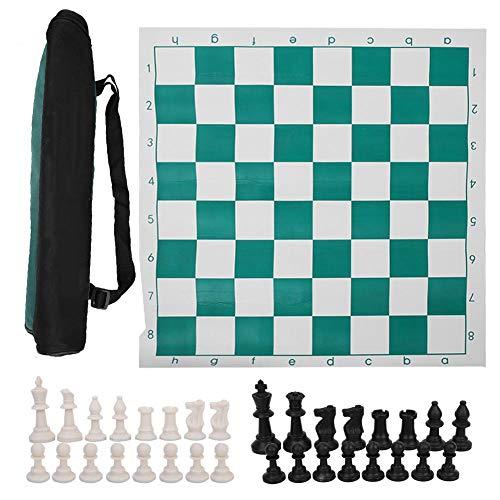 Keenso Portable International Chess, Juego de Tablero de ajedrez Internacional portátil de Viaje al Aire Libre con Gran Bolsa de Lona(53cm)