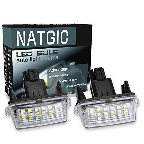 NATGIC 1 Paire d'éclairage de Plaque d'immatriculation à LED 3528 puces 18SMD Intégré Can-Bus étanche Numéro de Plaque d'immatriculation Lampe de Plaque d'immatriculation 12-14,5 V 3W - 6000K Blanc