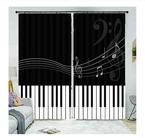 WKJHDFGB Vorhang Blickdicht,Musikalische Symbole Schwarze Und Weiße Klaviertasten,Erwachsene Kinderzimmer Verdunkelungsvorhänge Schimmelresistente Polyestergewebe Fenstervorhänge (2 Panel) 215X260Cm