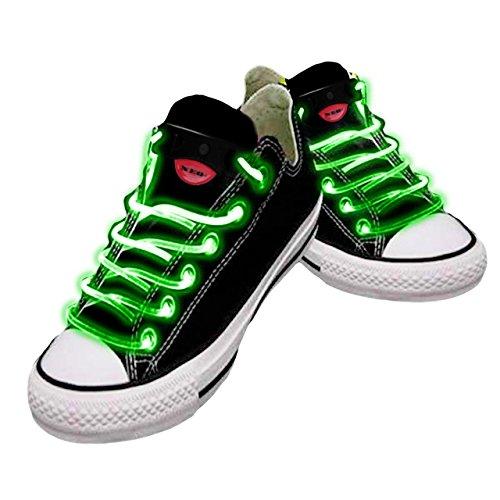 Wasserdichte LED-Schnürsenkel in verschiedenen Farben: grün, rot, gelb, orange, blau, pink, gelb/grün, blau/pink, grün/pink, mehrfarbig, hochwertig grün