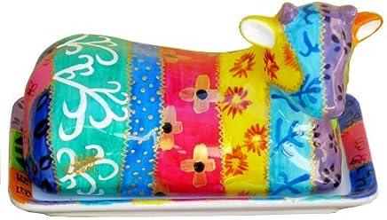 Preisvergleich für Für Ostern - Handbemalte Keramik Kuh-Butterdose im Tsarina Design. Luxuxgeschenkkasten. Festliche Geschenk für Ostern oder Geburtstag für Mütter und Köche