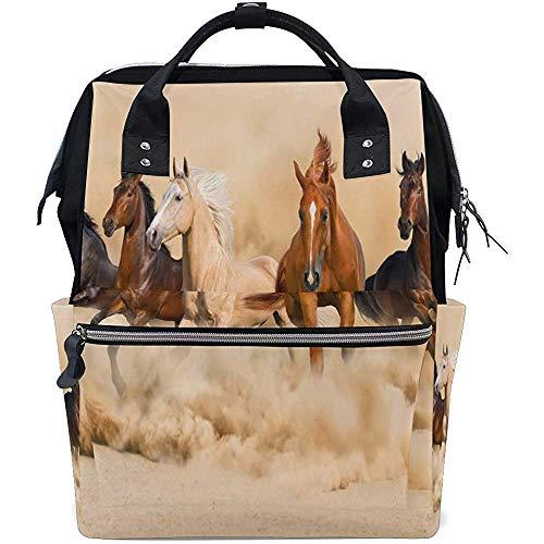 KW-Wosn Pferd Herde Run Windel Rucksack Große Kapazität Baby Taschen Multifunktions Reißverschluss Casual Reiserucksäcke