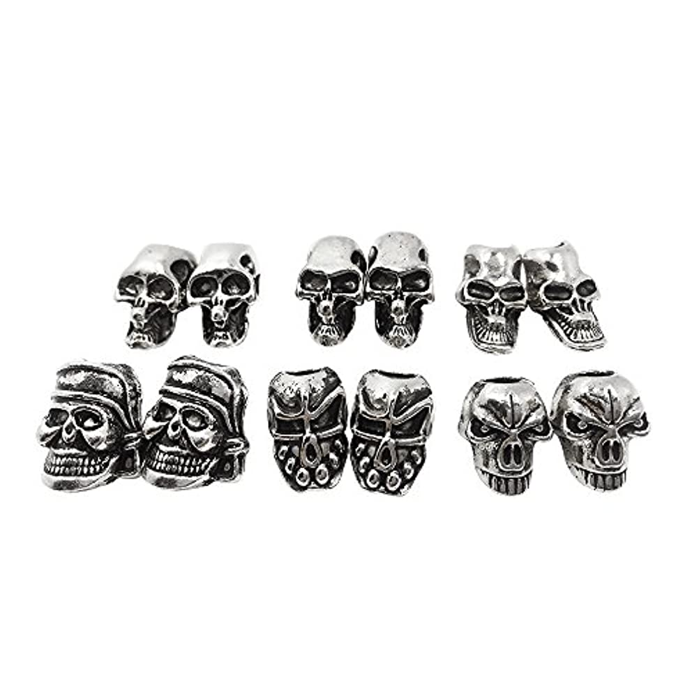 Skull Beads For EDC Outdoor Lanyards,Knife/ Flashlight/ Paracord /DIY Jewelry Charms Accessories (10PCS)