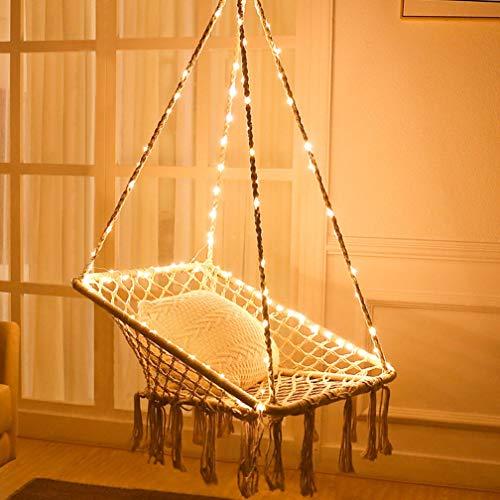 X-cosrack Hamaca Colgante Columpios Silla de Hamaca con Silla Colgante Luces - Forma Cuadrada De Algodón para Balcón de Dormitorio con Patio (Soporte NO Incluido)