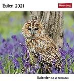 Postkartenkalender Eulen - Kalender 2021 - Harenberg-Verlag - Postkartenkalender mit 53 heraustrennbaren Postkarten - 15,8 cm x 18 cm