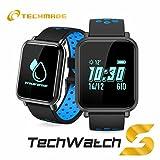 TECHMADE TECHWATCHS1 Smartwatch, Nero/Blu