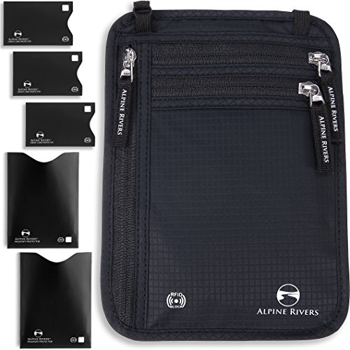 of pouch wallets dec 2021 theres one clear winner Neck Wallet Travel Pouch & Passport Holder - RFID Blocking plus 5 RFID Sleeves