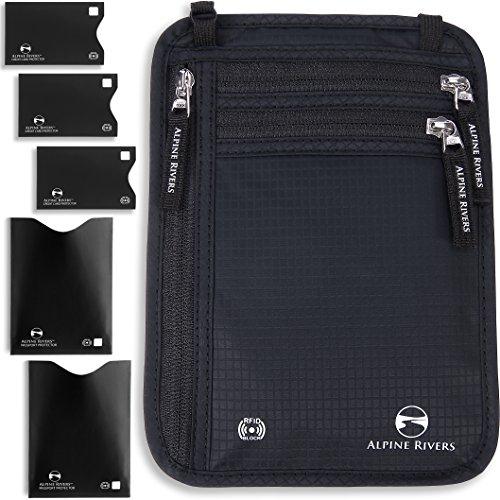 Collo portafoglio porta passaporto e custodia da viaggio RFID + 5Bonus Extra maniche Premium Black XL Universal