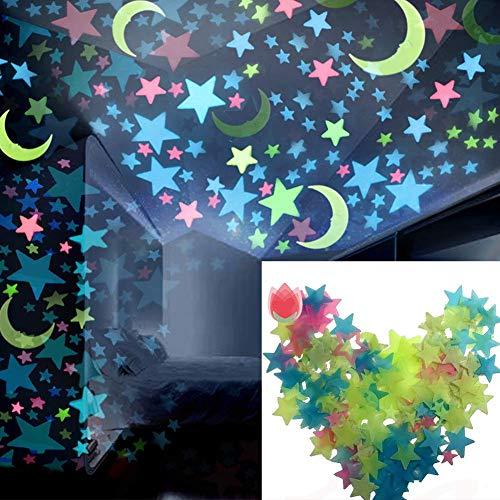 Ogquaton 100 Stücke 3D im Dunkeln leuchten Sterne u0026 Mond Aufkleber Fluoreszierende Wandaufkleber Leuchtende