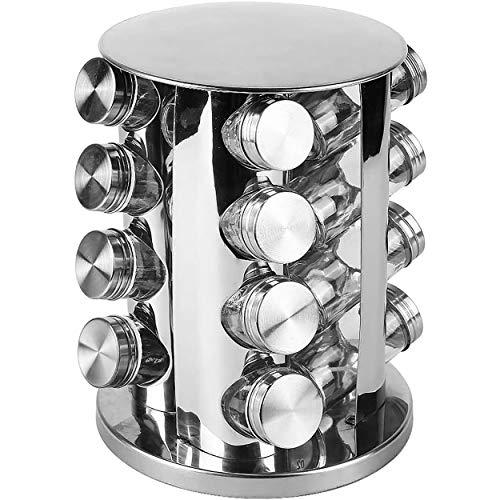 Hogar y Mas Especiero Organizador Giratorio Acero INOX, Juego de 16 Botes para Especias de Cocina. PortaEspecias 26x18,5 cm