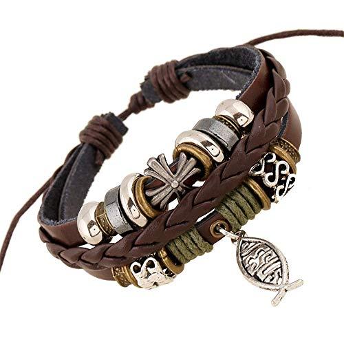 THj Bracelet Homme Bracelet en Cuir PU Fermoir magnétique Faux Cuir de Vache tressé Bracelet Wrap Multicouche