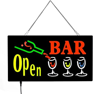 ACELED LED Open Sign for Business, Neon Open Sign, Three Modes Always Bright, Flashing,Slow Flashing, Commercial Advertising Board Electronic Display Sign for Wall, Window, Shop, Bar,Hotel (Bar)
