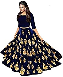 MAA KHODAL FASHION Womens Taffeta Silk Lengha Choli (Blue, Free Size)