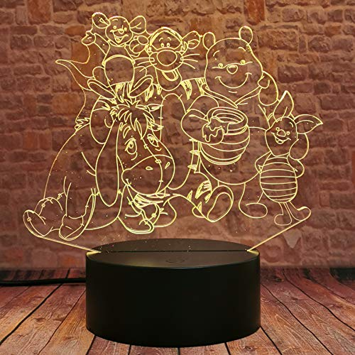 Fanrui Cartoon 3D Cute Family Winnie Pooh Bear Eeyore Tigger Piglet Roo Rabbit Robin Friends Anime Figure Figurines 3D LED Night Light 7 Color Flash Xmas Birthday Child Kids Girls Boy Friend Toy Gifts